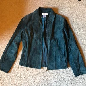 Women's size ps green leather jacket